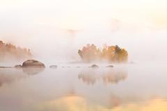 Golden-Island_New (hzeng_2004) Tags: morning autumn usa lake fog landscape island vermont
