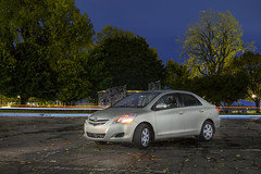 Yaris 08 (Tudor A. Parau) Tags: autumn light car 30 night photography timelapse montreal sony trails sigma toyota 28 speedlight 08 yaris speedlite a6000