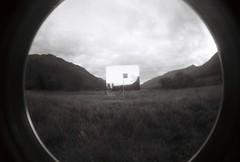 Lomo Fisheye 4 (from the lens of G) Tags: blackandwhite art monochrome mono scotland weird lomography ufo aliens fisheye trossachs