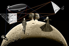 Strung out in heavens high... (Sendall) Tags: moon collage labrador chocolate space zeppelin surreal montage blimp airship bizarre moonscape
