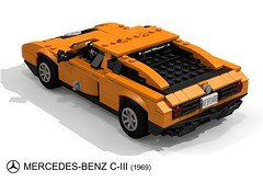 Mercedes-Benz C111 Concept (lego911) Tags: auto birthday classic 1969 car germany mercedes benz model lego diesel render german prototype mercedesbenz 16 1960s concept 7th challenge rotary daimler cad lugnuts povray 84 moc wankel ldd miniland c111 whataconcept weissherbst lego911 lugnutsturns7or49indogyears