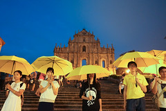 yellow umbrella in Macau (RoyChoi) Tags: umbrella revolution macau