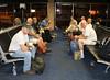 Breakfast at Dallas Airport (Cache Scouter) Tags: breakfast john rachel waiting mark trevor cuba bob tracy karen larry dfw missiontrip dallasairport vim 2014 cuba2014