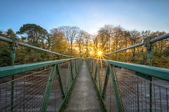The Swinging Bridge - Sion Mills - Strabane (Gareth Wray - 8 Million Views -Thank You) Tags: county uk bridge autumn ireland sunset vacation sky irish sun holiday history mill tourism nature leaves set river lens photography foot star countryside nikon europe colours photographer view flood footbridge britain linen steel side country wide cable landmark visit tourist swing historic fox british hd flowing ni swinging burst nikkor northern mills gareth hdr carry sion mourne weir ulster tyrone the wray herdman riverscape strabane herdmans sionmills 1024mm d5300 bearney hdfox