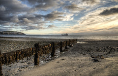 Ship in Douglas Bay on the Isle of Man (neilalderney123) Tags: 2016neilhoward olynpus isleofman manx landscape beach ship clouds water dawn