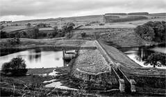 Hury Reservoir . (wayman2011) Tags: canon50d lightroom wayman2011 bwlandscapes mono reservoirs bridges pennines dales baldersdale teesdale huryreservoir countydurham uk