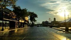 Just after the Rain (Theresa*) Tags: sunrise downtown rain wheaton illinois samsungs5 cellphoneshot storefront trees sunshine morning