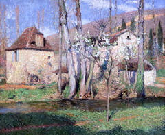 IMG_8268G Henri Martin. 1860-1943.  Chaumires au printemps. Cottages in the spring. 1910.    Colmar. Unterlinden. (jean louis mazieres) Tags: painting peintres peintures muse museum museo france colmar musecolmar museunterlinden henri martin 18601943 chaumires au printemps cottages spring 1910 unterlinden henrimartin