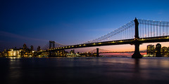 2 Bridges, 30 Seconds - Manhattan and Brooklyn Bridges from under the FDR Freeway (smithat) Tags: bridge manhattan brooklyn manhattanbridge brooklynbridge 30seconds sunset nyc newyork newyorkcity water river eastriver unitedstates us