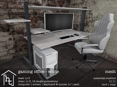 [ht:home] gaming office - white (Corvus Szpiegel) Tags: hate this hatethis ht home original mesh material materials enabled diffuse texture normal specular map geeksnnerds geek nerd office desk chair gaming computer monitor screen pc keyboard mouse black white pink wood leather metal steel widescreen furniture decoration decor deco sl second life secondlife