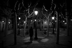 (cherco) Tags: night noche woman mujer arboles trees misterio mystery tetrico light luz alone solitary solitario aloner lonely lantern farola blackandwhite blancoynegro silence silencio