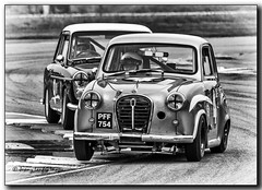 Mark Daniell 1958 Austin A40 1293 chases Neil Brown1958 Austin A35 Speedwell 1293 at the chicane (jdl1963) Tags: historic racing thruxton motorsport motor blackandwhite bw black white monochromemark daniell 1958 austin a40 1293 chases neil brown1958 a35 speedwell chicane