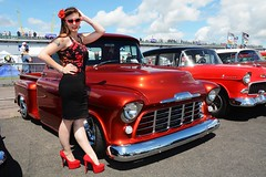 Holly_7342 (Fast an' Bulbous) Tags: long brunette hair people outdoor wiggle dress skirt girl woman hot sexy chick babe seamed silk stockings high heels red shoes legs beauty car vehicle automobile oldtimer classic sunglasses santapod dragstalgia model pose england summer hotty stilettos pinup