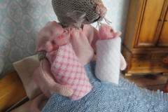 16. The Twins (Foxy Belle) Tags: mice mouse baby newborn pinkies doll dollhouse clothing twins babies handmade felt ooak story family