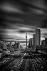 CN Tower from Bathurst Street bridge. (Dan Fleury) Tags: urban windy blackandwhite bnw white black cans2s city railyard rail cntower toronto ontario canada ca