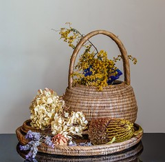 When dried is still beautiful... (Anni - with camera) Tags: wovenbasket woventray hydrangea rose wattle lavender stilllife driedflowers protea someofmycollections inmygarden