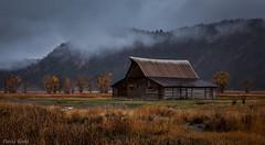 Mormon Barn Fog (David Recht) Tags: grandteton barn mormonrow wyoming fog clouds rain