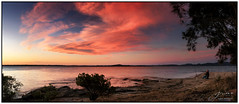 Lone Fisherman (juliewilliams11) Tags: outdoor cloud sky sunset photoborder shore landscape sand rock fishing fisherman water newsouthwales australia cokin gnd filter peaceful stitched panorama