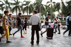 Hong Kong (jaumescar) Tags: hongkong asia street urban city people crowded businessman bag suit walking palm trees rush