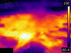 Thermal image of Spasmodic Geyser erupting (late afternoon, 11 August 2016) 3 (James St. John) Tags: spasmodic geyser sawmill group upper basin yellowstone hotspot volcano wyoming hot spring springs geysers thermal image temperature