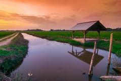 one nice evening after sunset. (Azizasrar Photoghraphy) Tags: amateurtobepro slowshutter travellight nikon lake landscape sun sunset cloud longexpose scenery hut river water