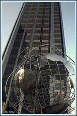 Point of View (Irina Kiseleva) Tags: skyscraper globe window circle repetition reflection ny manhattan broadway color blue beige black composition silver columbuscircle statue 1001nights 1001nightsmagiccity