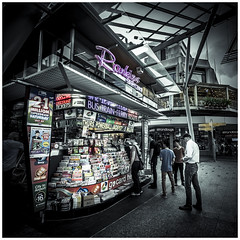 Brisbane street photography - Newsagency (JakaPH Photography) Tags: street photography people brisbane queensland qld australia city centre cbd selective colour color lightroom desaturated day daylight daytime dark bright newsagency newsagent shop