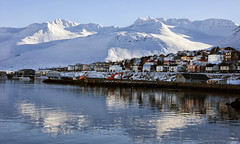It's gonna be a bright, crispy-cold day (lunaryuna) Tags: iceland northiceland siglufjordur mountain fjord shore coast reflections weathermood light sunshine spring season seasonalchange snowcoveredmountain harbour beauty lifeinthenorth lunaryuna