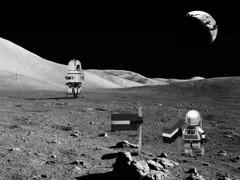 Astronauts on the Moon! (John Moffatt) Tags: lego space sci fi moon lander astronauts clearly faked digital designer photoshop dc6