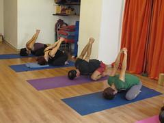 Baddangulyasana in Adho Mukha Virasana (Scuola Yoga Camerino) Tags: adho mukha virasana baddangulyasana