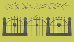 Halloween_stones_and_bones_metal_fence (ragerabbit) Tags: trees moon holiday castle halloween grass set cat fence dark pumpkin skull wings eyes funny wolf spiders stones cartoon scarecrow silhouettes illustrations owl bones ghosts creatures celebrate vector bats