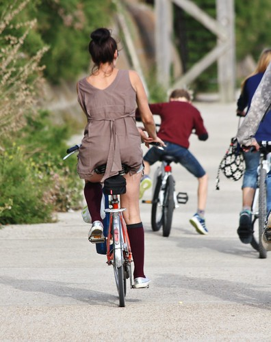family woman girl beautiful bicycle socks dark hair cycling purple maroon candid thighs mature short denim shorts brunette knee sandgate folkestone kneesocks coastpath minidress hairinabun folkestonehytheaug2014