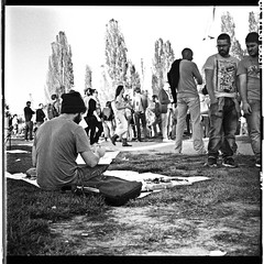 20141019_1645 (chrom9) Tags: street gay portrait blackandwhite bw man berlin men guy 6x6 mamiya film analog photoshop mediumformat germany painting square iso3200 europe drawing watching streetphotography streetlife scan painter medium 1970 analogue draw flea development ilford mauerpark 1h chap mamiyac330 2014 cs3 wallpark onehour standdevelopment ilforddelta sekor adox mamiyasekor adonal epsonv700 photoshopcs3 ilforddeltaprofessional bernauerstrase adofix adostop
