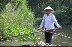 Woman in the delta of the Mekong river, Can Tho. (Olivier Simard Photographie) Tags: travel water river women asia eau couleurs femme delta rivire vietnam viet thong mangrove asie tong mekong barque cantho fleuve candidshot mkong bassac vitnam vietnamienne scnedevie nn nnl haugiang obba canthoninhkiucnthvietnam oliviersimardphotographie