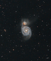 M51 The Whirlpool galaxy (cropped) (ShoulderOps) Tags: spiral eos space deep astro telescope filter whirlpool galaxy canes modified astronomy m51 phd cls guiding cs3 skywatcher 200p ngc5195 venatici pixinsight 1100d astronomik qhy5 ic4278 ic4263 neq6 shoulderops