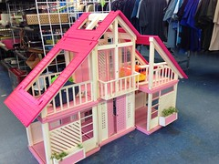 Seen at the Thrift Store - Did not Buy (Foxy Belle) Tags: pink house store market dream barbie thrift frame flea 1980s dollhouse a