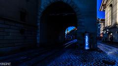 Blue Tunnel (Ukelens) Tags: city morning light sun lights schweiz switzerland town swiss stadt bern sonne sonnenaufgang morgen sunbeam lightroom ligh sonnenschein kfigturm berncity ukelens