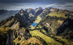 Swiss Alps: Alpstein Massif (Frederic Huber | Photography) Tags: blue autumn sky mountain alps green berg st yellow canon landscape eos schweiz switzerland view suisse suiza hiking mark swiss iii herbst scenic himmel ostschweiz gelb lee massive 5d grn alpen blau aussicht filte