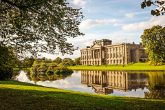 Lyme Park House (Sue.Beck Smith) Tags: park trees sky house lake reflection castles home water gardens clouds austin elizabeth cheshire mr jane pride b