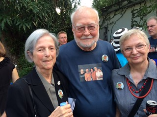 Former Miami Herald art critic Helen Kohen with Bob Sindelir  and his artist wife Jill Canaday at The Bob Huff celebration of life