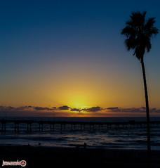 Sunset (jgonzo79) Tags: ocean california sunset sky sun tree water clouds pier sand unitedstates pacific sandiego palm