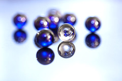 Spheres & Circles (Photo Amy) Tags: blue white macro reflection reflections circle bokeh sphere marbles marble 100mmf28 hbw canoneos50d happybokehwednesday