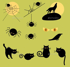Halloween_spiders_cats_wolf (ragerabbit) Tags: trees moon holiday castle halloween grass set cat fence dark pumpkin skull wings eyes funny wolf spiders stones cartoon scarecrow silhouettes illustrations owl bones ghosts creatures celebrate vector bats