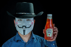 Anglo American Dreams (e_impact) Tags: usa inspiration hat america mexico fun 50mm pittsburgh mask ketchup 14 guyfawkes f western condiment keystone 365 nikkor anonymous cowboyhat heinz ai influence clich mht clichs elinchrom atitagain nikkor50mmf14ai project365 westernhat 57varieties 19365 theamericandream mexicanstyle guyfawkesmask pennesylvania mexicanstylehat clichsaturday gamblerstyle tomorrowisbetter mhtwesterns