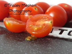 Tomatoes 4 (traceymepham) Tags: red baby fruit tomato cherry photography salad juicy sweet cut juice tomatoes knife seed andover seeds pips finepix pip half chop fujifilm chopped tracey mepham hs30exr