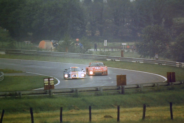 The 2nd placed Porsche 935 - Rolf Stommelen, Dick Barbour & Paul Newman passed by the Rondeau M379 -  Henri Pescarolo & Jean-Pierre Beltoise in Porsche Curves at the 1979 Le Mans