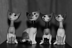 MoNovember 11 - The Love Cats [Explored] (zawtowers) Tags: sculpture cats white black art love monochrome up smiling happy four mono figurines loved lined rosina wachtmeister monovember