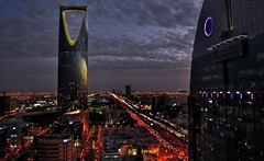 Riyadh (luvholic) Tags: sunset beautiful night buildings lights evening amazing cities skyscrappers riyadh saudiarabia