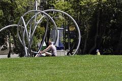 Rondo (Tending) (AntyDiluvian) Tags: sanfrancisco california trip sculpture woman girl kids campus children berkeley stainlesssteel university lawn rings beasley uc westcoast universityofcalifornia brucebeasley
