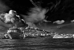 Ibiza old town (Dalt Vila) [Explored 2016-10-08] (T.Seifer) Tags: ibiza dalt vila old town architektur architecture blackandwhite bw blackwhite clouds city d610 spain fx harbour hafen nikon cityscape balearen monochrome photography reisefotografie schwarzweis stadt sp tamron2470 whiteandblack whiteblack weisschwarz wolken